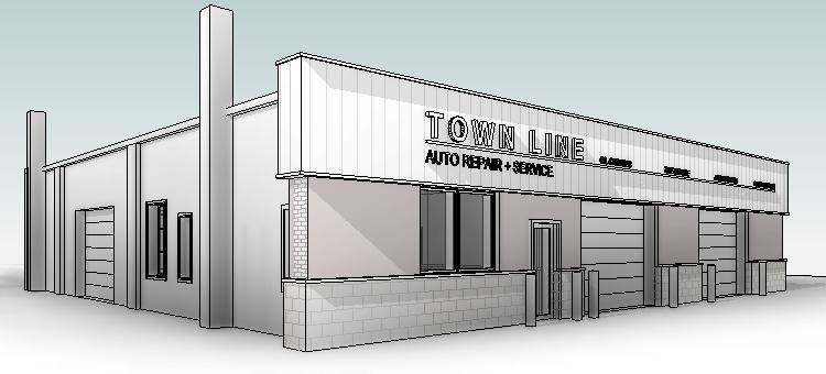 townline autorepair storefront brick cmu 3D model