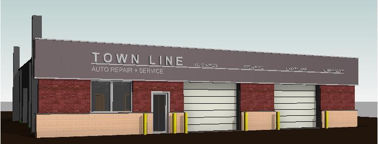 townline autorepair storefront brick cmu facade